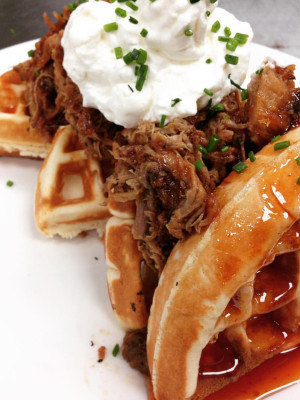 Pulled pork and waffles